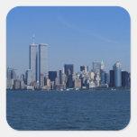 New York, USA. Skyline of downtown Manhattan Square Sticker