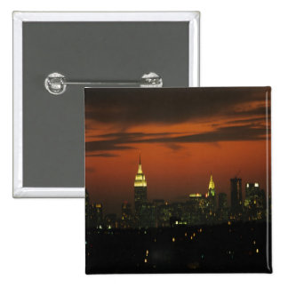 New York, USA. Skyline of uptown Manhattan 2 2 Inch Square Button