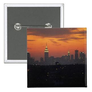 New York, USA. Skyline of uptown Manhattan 2 Inch Square Button