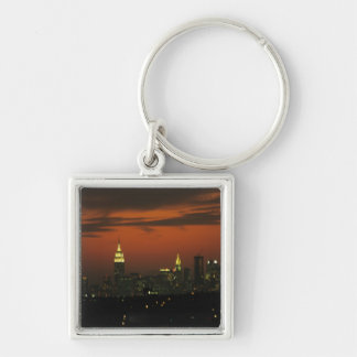 New York, USA. Skyline of uptown Manhattan 2 Silver-Colored Square Keychain