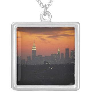 New York, USA. Skyline of uptown Manhattan Silver Plated Necklace