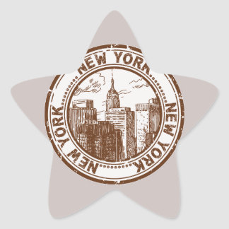 New York, USA Travel Stamp Star Sticker