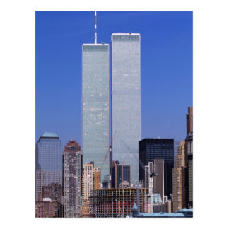 New York, USA. Twin towers of the famous World Postcard
