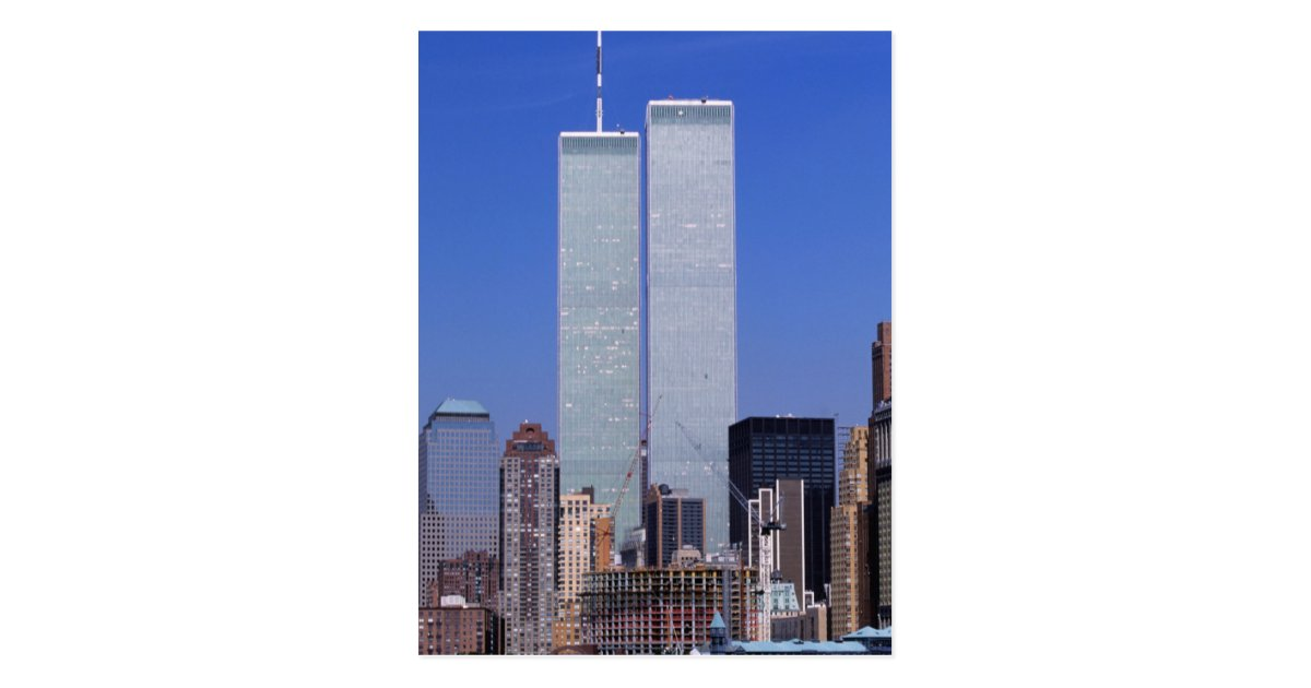 New york usa twin towers of the famous world postcard for Names of famous towers