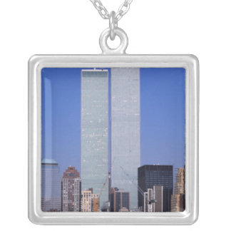 New York, USA. Twin towers of the famous World Silver Plated Necklace
