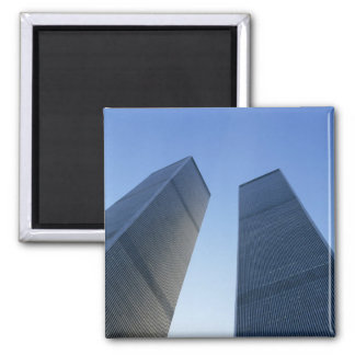 New York, USA. View up at twin towers of the 2 Inch Square Magnet