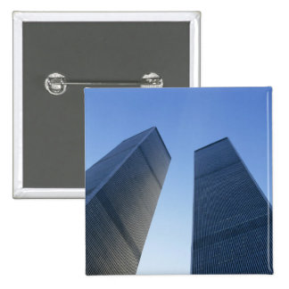 New York, USA. View up at twin towers of the 2 Inch Square Button