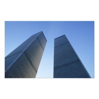 New York, USA. View up at twin towers of the Photo Print