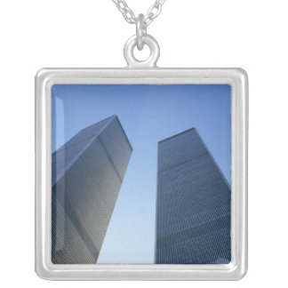 New York, USA. View up at twin towers of the Silver Plated Necklace