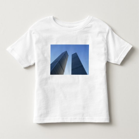 New York, USA. View up at twin towers of the Toddler T-shirt