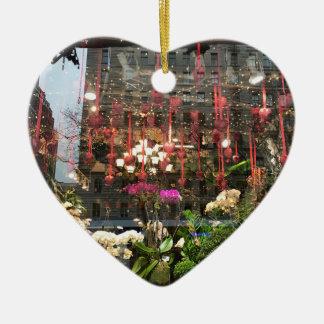 New York Valentine's Day Floral Shop Window Hearts Ceramic Ornament