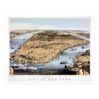 New York Vintage Aerial view Restored 1856 Postcard
