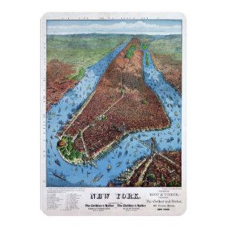 New York Vintage Aerial views Restored 1879 Card