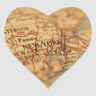 NEW YORK Vintage Map Heart Sticker