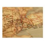 NEW YORK Vintage Map Postcard