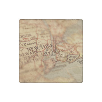 NEW YORK Vintage Map Stone Magnet