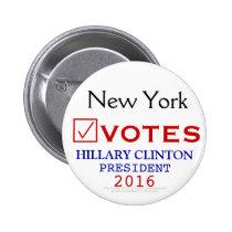 New York Votes Hillary Clinton President 2016 2 Inch Round Button