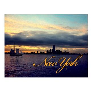 New York Waterfront Sunset Postcard