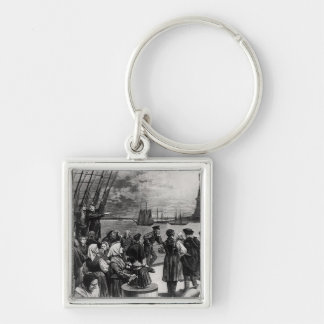 New York - Welcome to the land of freedom Silver-Colored Square Keychain