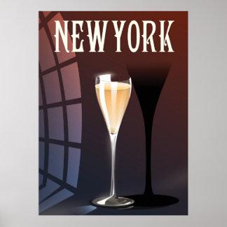 New York Wine travel poster