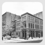 New York Winter - City in the Snow Square Stickers