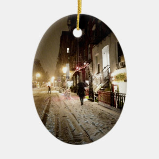 New York Winter - Snow on the Lower East Side Ceramic Ornament