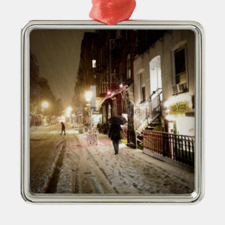 New York Winter - Snow on the Lower East Side Christmas Ornament