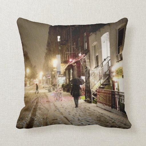New York Winter - Snow on the Lower East Side Pillows