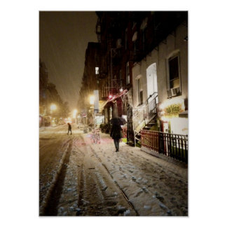 New York Winter - Snow on the Lower East Side Poster