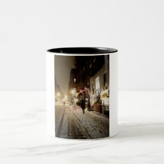 New York Winter - Snow on the Lower East Side Two-Tone Coffee Mug