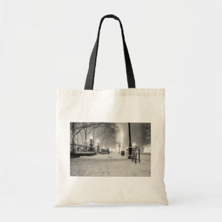 New York Winter - Snowy Night - Bryant Park Tote Bags