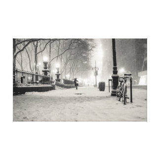 New York Winter - Snowy Night - Bryant Park Canvas Print
