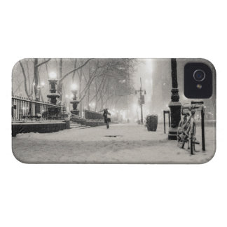 New York Winter - Snowy Night - Bryant Park iPhone 4 Cases