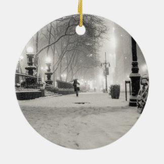 New York Winter - Snowy Night - Bryant Park Ceramic Ornament