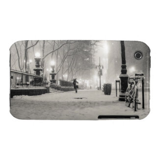 New York Winter - Snowy Night - Bryant Park iPhone 3 Covers