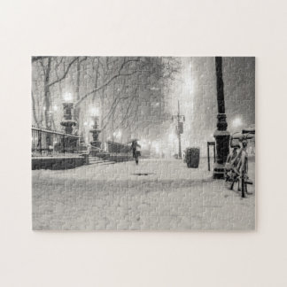 New York Winter - Snowy Night - Bryant Park Jigsaw Puzzle