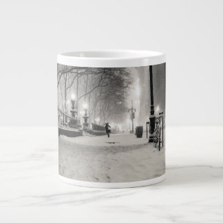 New York Winter - Snowy Night - Bryant Park Large Coffee Mug
