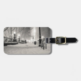 New York Winter - Snowy Night - Bryant Park Tag For Luggage