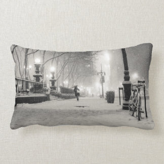 New York Winter - Snowy Night - Bryant Park Lumbar Pillow