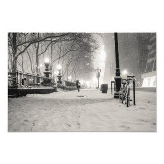 New York Winter - Snowy Night - Bryant Park Photograph