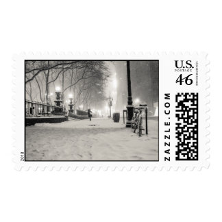 New York Winter - Snowy Night - Bryant Park Postage Stamps