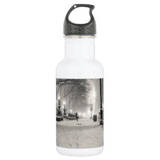 New York Winter - Snowy Night - Bryant Park Stainless Steel Water Bottle