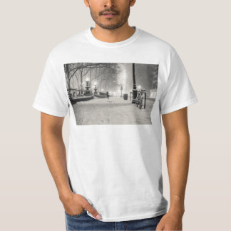 New York Winter - Snowy Night - Bryant Park T-Shirt