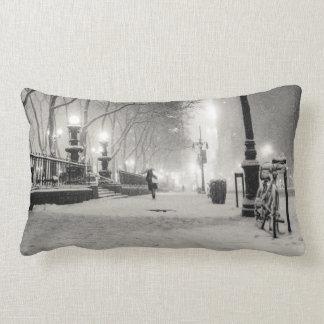 New York Winter - Snowy Night - Bryant Park Throw Pillow