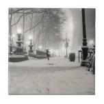 New York Winter - Snowy Night - Bryant Park Tiles