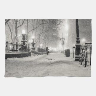 New York Winter - Snowy Night - Bryant Park Towel