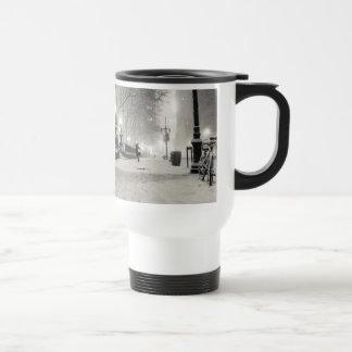 New York Winter - Snowy Night - Bryant Park Travel Mug