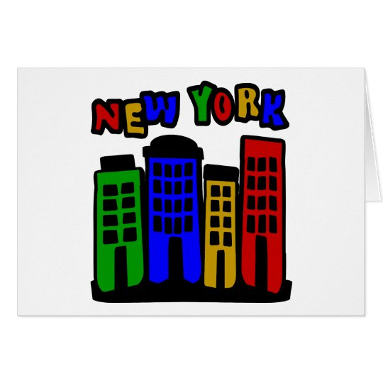 New York With Colorful Brownstones Card