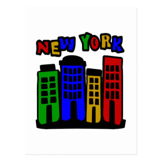 New York With Colorful Brownstones Postcard