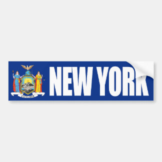 New York with State Flag Bumper Sticker